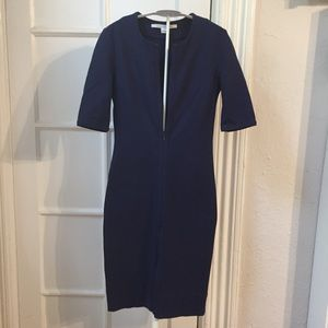 Diane Von Furstenberg Dresses - Diane Von Furstenberg blue Saturn zipper dress 0